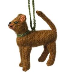 Hand Knit Alpaca Wool Christmas Ornament - Abyssinian Cat