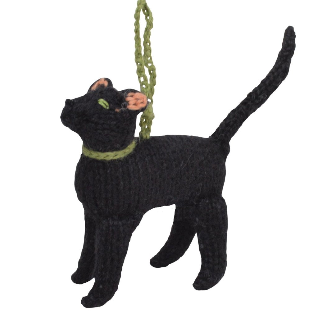 Hand Knit Alpaca Wool Christmas Ornament - Black Cat