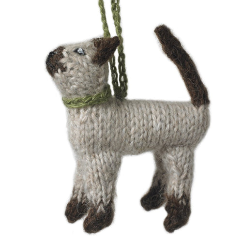 Hand Knit Alpaca Wool Christmas Ornament - Siamese Cat - Arcadia Home