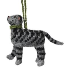 Hand Knit Alpaca Wool Christmas Ornament - Tabby Cat - Arcadia Home
