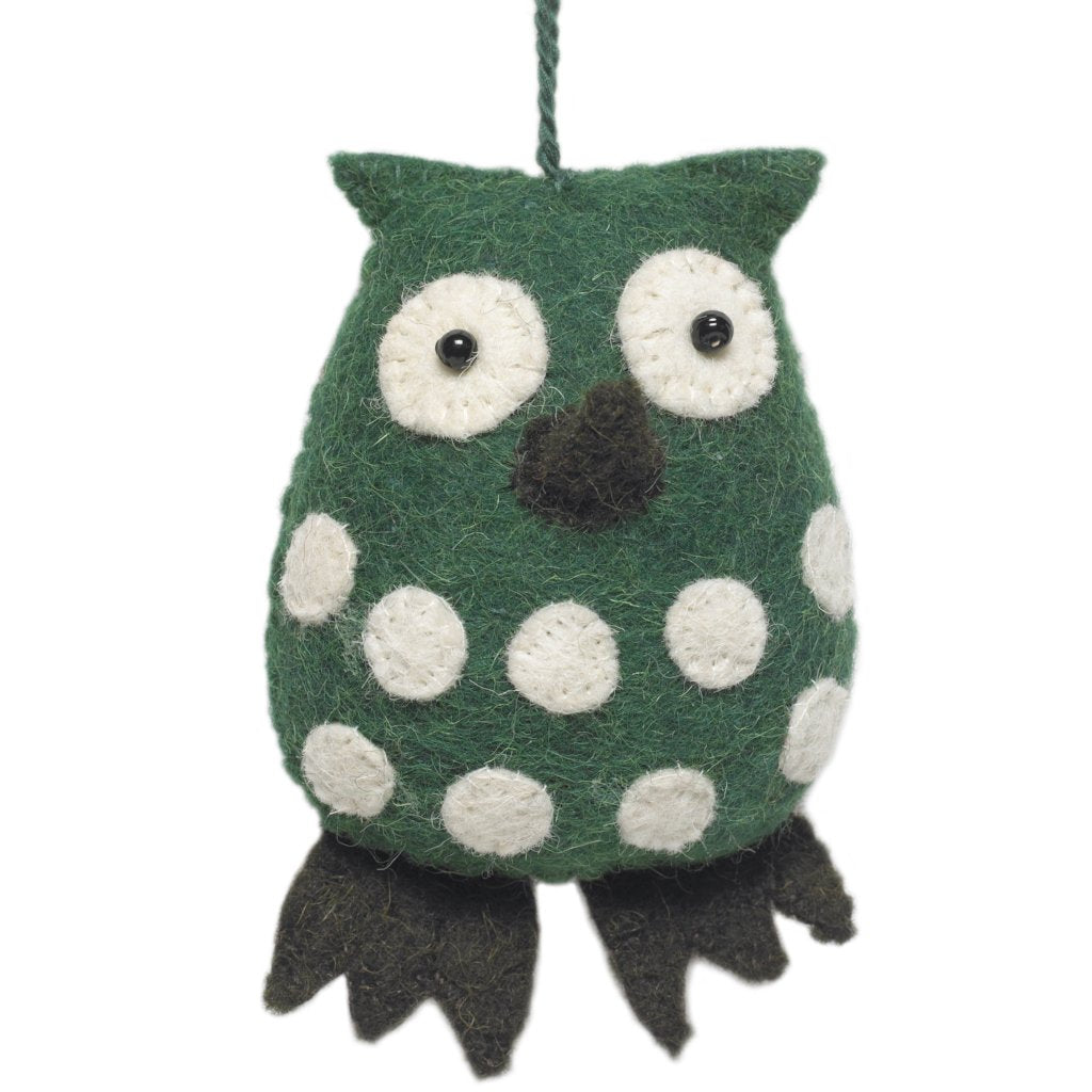 Handmade Felt Green Owl Christmas Ornament