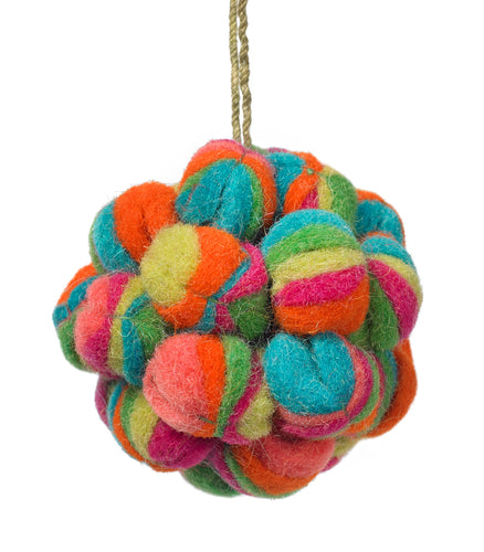 Handmade Felt Multicolored Ball Christmas Ornament-small