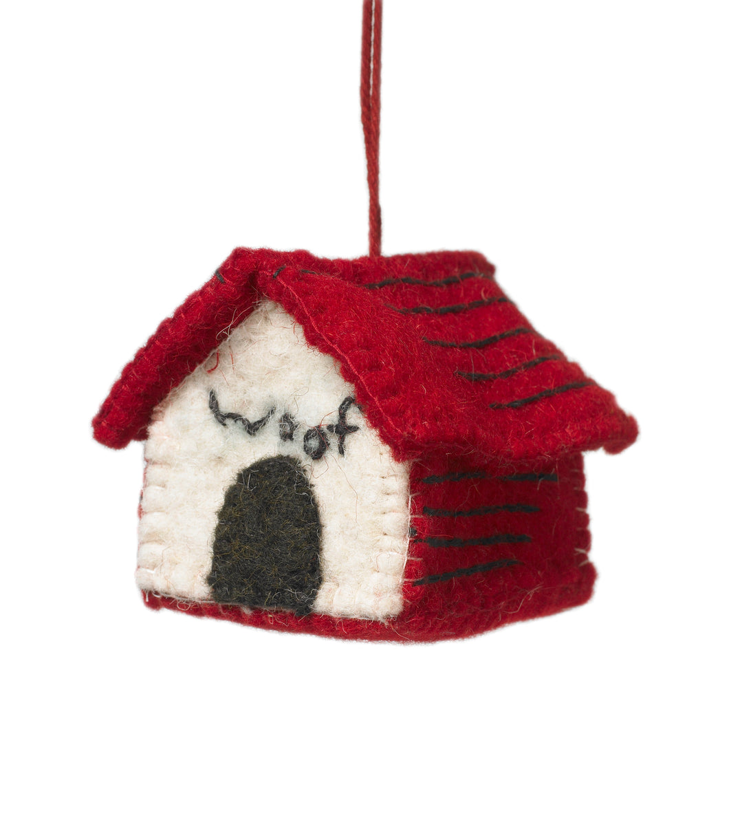 Dog House Ornament with WOOF Embroidery