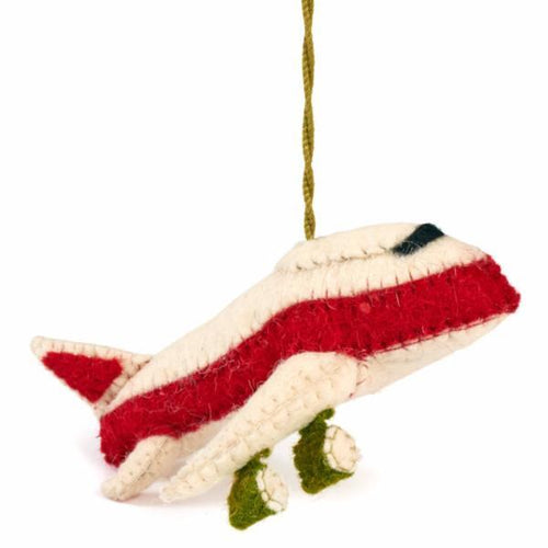 Hand Felted Wool Jet Airplane Christmas Onament - Arcadia Home