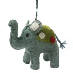 Handmade Felt Blue Elephant Christmas Ornament