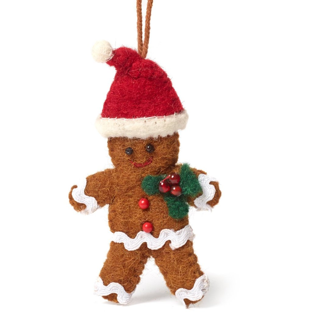 Handmade Felt Gingerbread Boy Christmas Ornament - Arcadia Home
