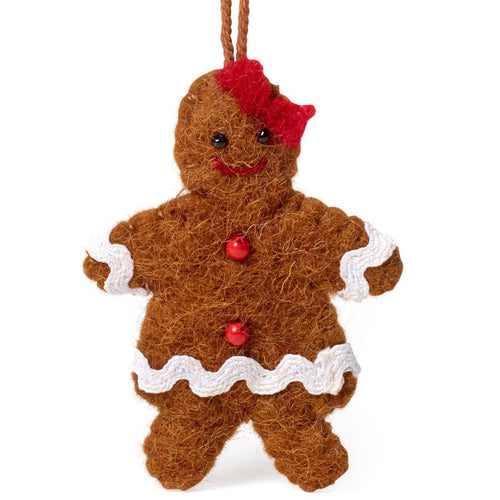 Handmade Felt Gingerbread Girl Christmas Ornament - Arcadia Home