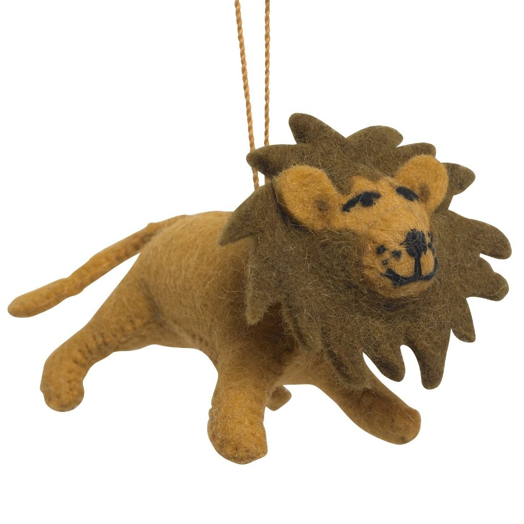 Handmade Felt Lion Christmas Ornament