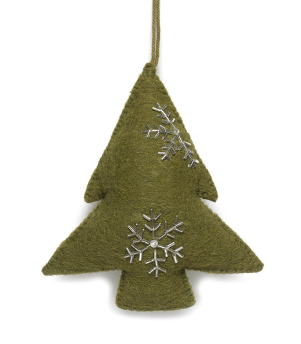 Hand felted wool tree-ornament -green with gold hand beading