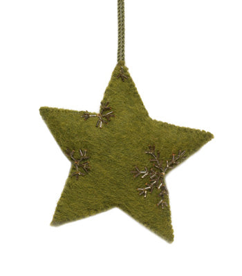 Star ornament -Green with gold hand beading