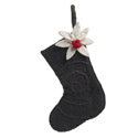 Handmade Felt Brown Poinsettia Stocking Christmas Ornament