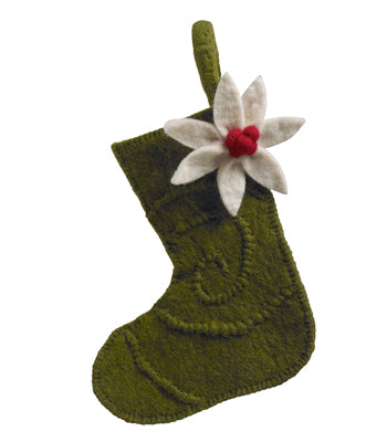 Handmade Felt Green Poinsettia Stocking Christmas Ornament
