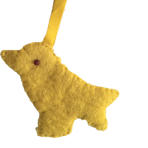 Hand Felted Wool Christmas Ornament - Yellow Bird