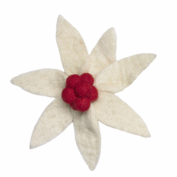 Set of Four Cream Flower Clip On Ornaments with Red Center - Arcadia Home