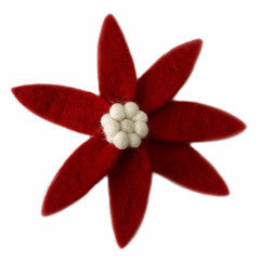 Red Poinsettia Clip on Ornament with Cream Center - Set of 4