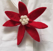 Handmade Felt Flower Pin in Red with Cream Center - Arcadia Home