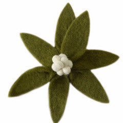 Green Flower Clip On Ornament with Cream Center - Set of 4 - Arcadia Home