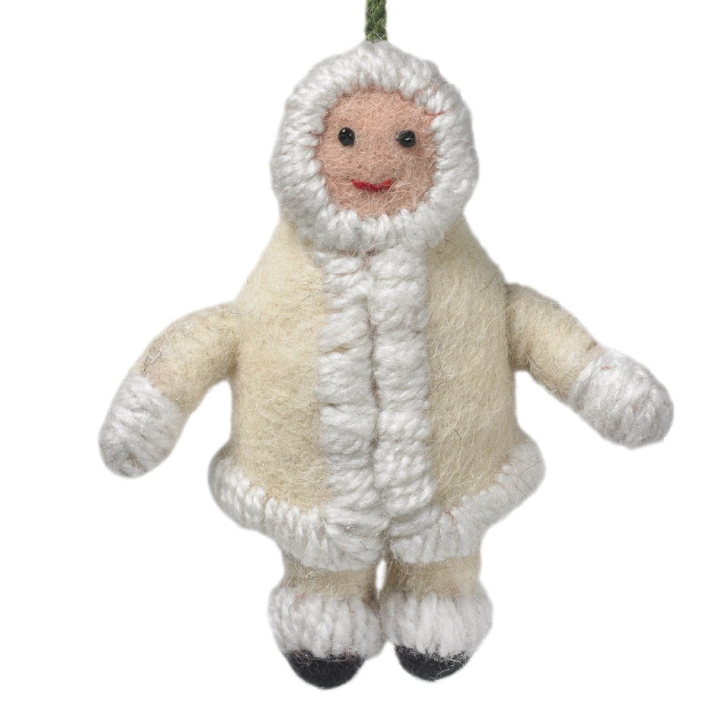 Handmade Felt Snowsuit Gal Christmas Ornament - in Cream