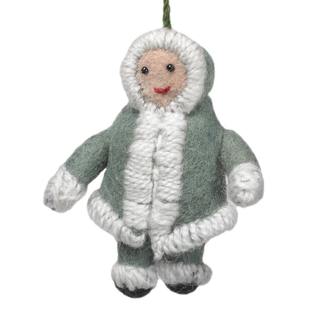 Handmade Felt Snowsuit Gal Christmas Ornament - in Gray - Arcadia Home