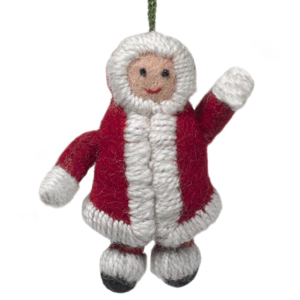 Handmade Felt Snowsuit Gal Christmas Ornament - in Red - Arcadia Home