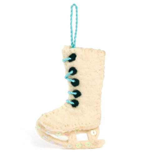 Handmade Felt Ice Skate Christmas Ornament - Arcadia Home