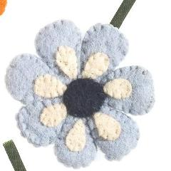 Handmade Felt Blue Daisy Flower Christmas Ornament - Arcadia Home
