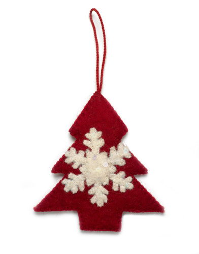 Handmade Felt Tree with Snowflake Christmas Ornament