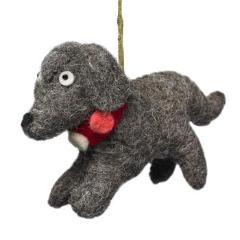 Handmade Felt Gray Dog Christmas Ornament