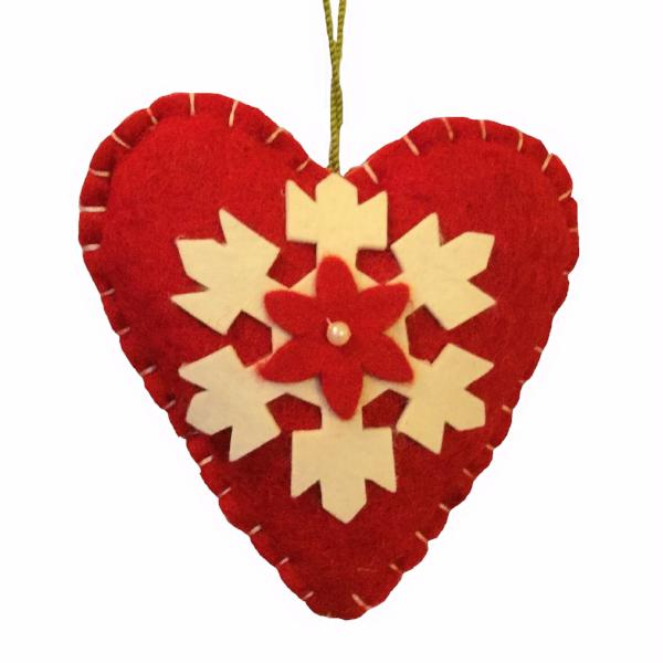 Heart Applique Christmas Ornament in Red - Arcadia Home