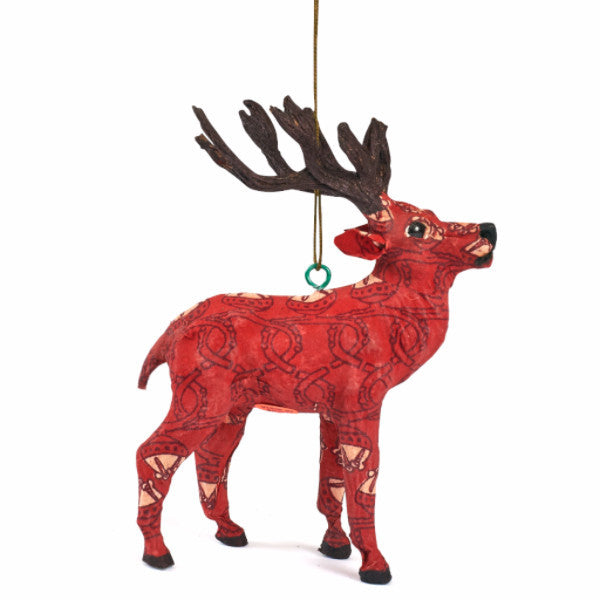 Handmade Paper Mache Red Reindeer Christmas Ornament - Arcadia Home