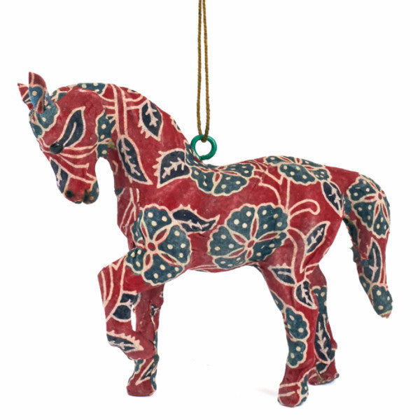 Handmade Paper Mache Horse Christmas Ornament