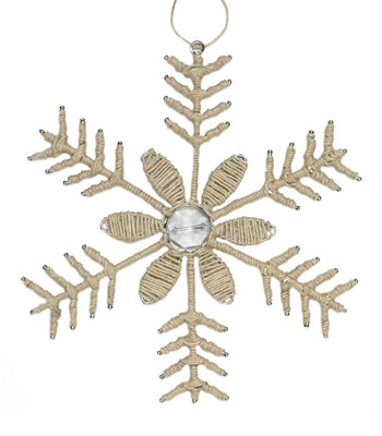 Christmas Snowflake Ornament Set with Jute and Glass Beads-Set of 2