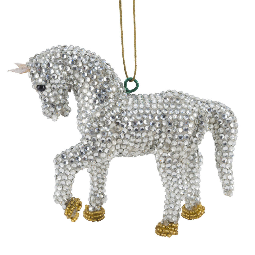 Handmade Silver Horse Christmas Ornament in Recycled Glass Beads - Arcadia Home