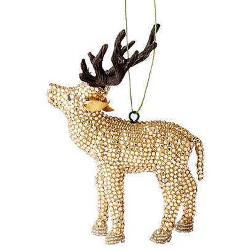 Handmade Golden Reindeer Christmas Ornament in Recycled Glass Beads
