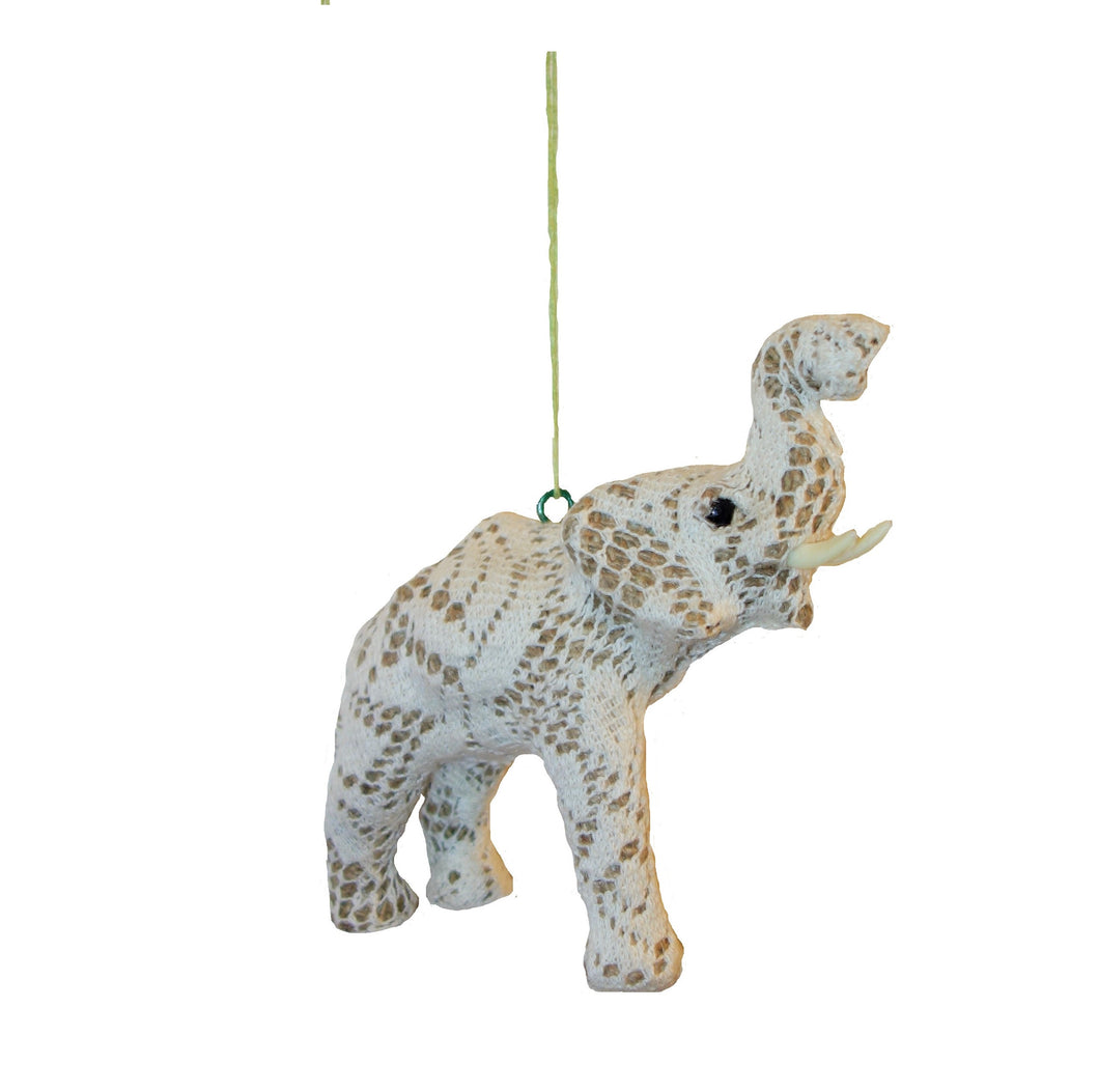 Handmade Lace and Paper Mache Elephant Christmas Ornament - Arcadia Home