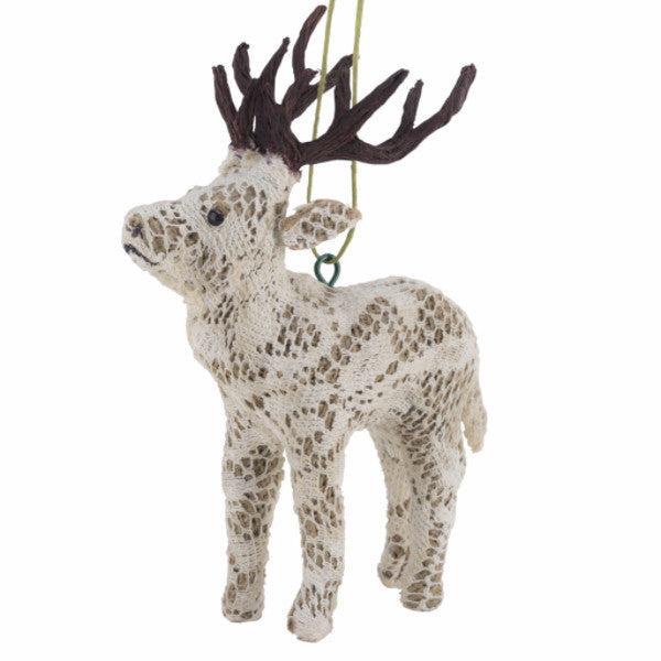 Handmade Reindeer Christmas Ornament in Jute and Lace - Arcadia Home