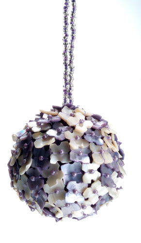 Hand Beaded Mother of Pearl Ornament- Purple