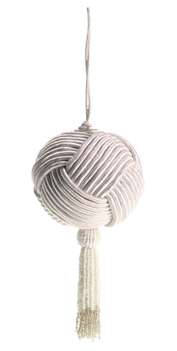 Cotton and Silk Corded Ball with Hand Beaded Tassel- White