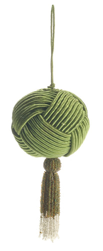 Cotton and Silk Corded Ball with Hand Beaded Tassel- Green