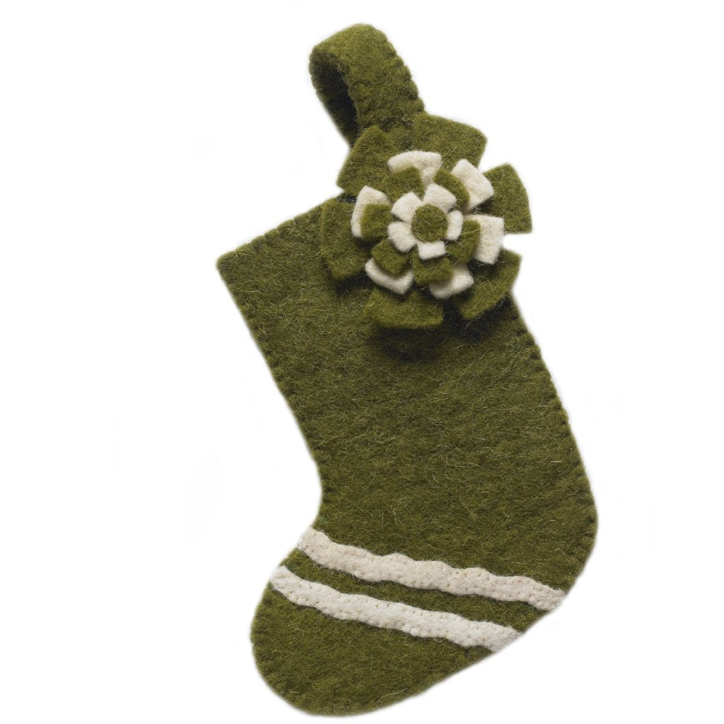 Handmade Felt Green Stocking Christmas Ornament - Arcadia Home
