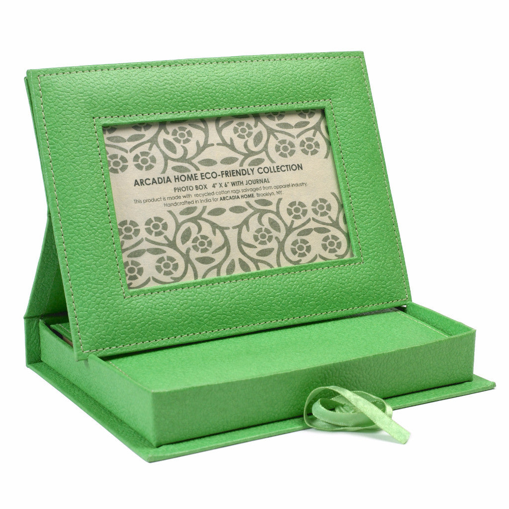 Photo Frame Box with Journal in Green - Arcadia Home