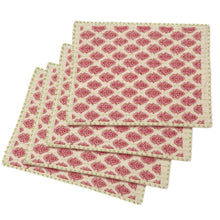 "Artisan Hand Loomed Place Mat - Red with Green Stitching - 14"" x 19""- Set of 4"