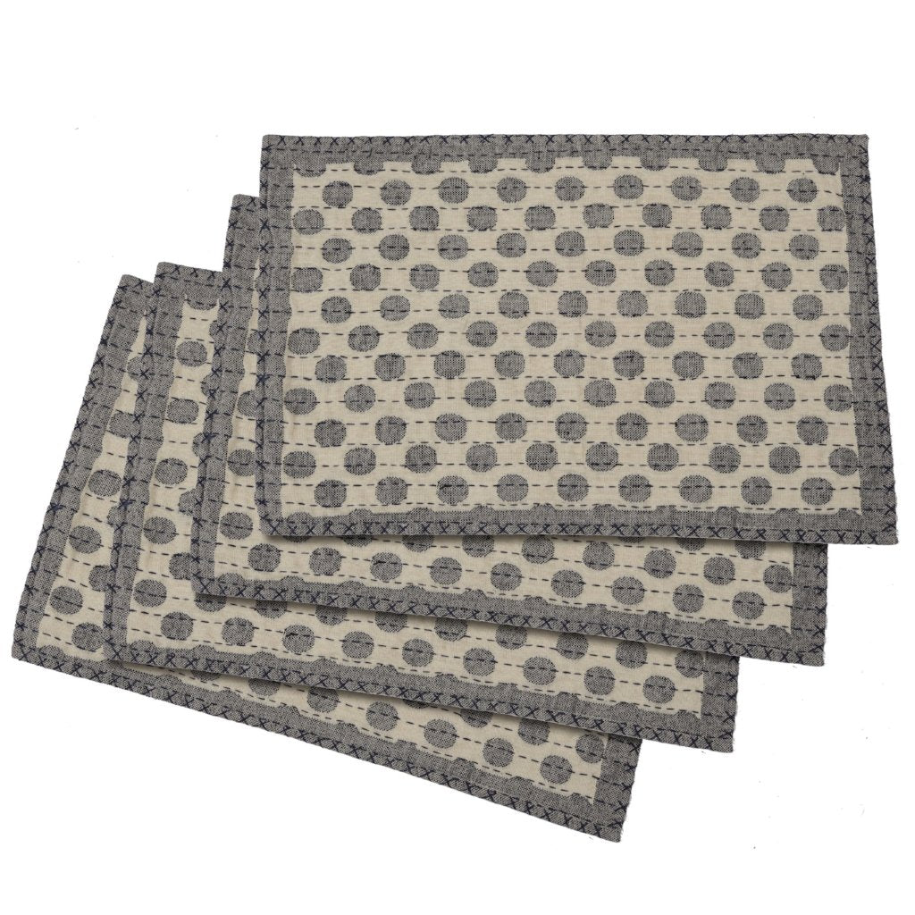 Artisan Hand Loomed Place Mat - Gray Dots - 14