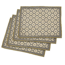 "Artisan Hand Loomed Place Mat - Gray with Yellow Stitching - 14"" x 19""- Set of 4 - Arcadia Home"