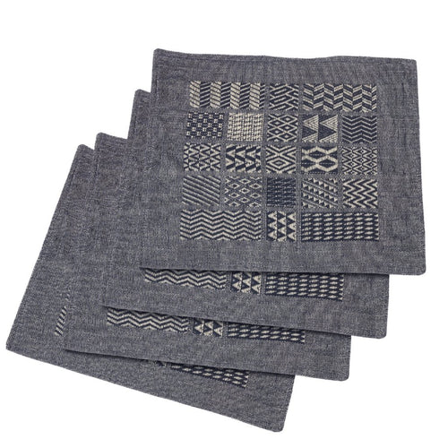 Artisan Hand Loomed Place Mat - Indigo Blocks - 14