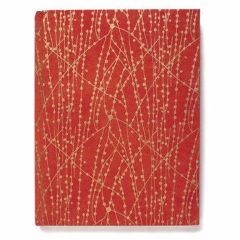 Recycled Cotton Journal in Red and Gold Dot Line-6