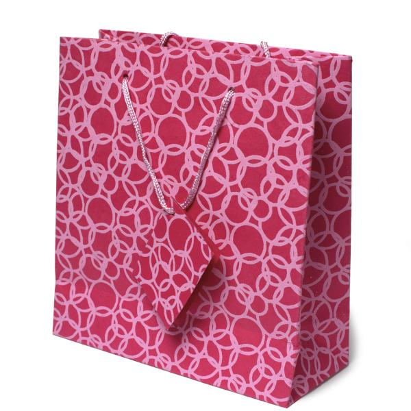 Set of Six Recycled Cotton Gift Bags with Tag in Pink Circles Design - Arcadia Home