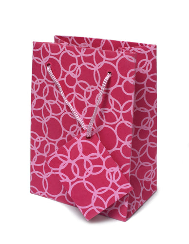 Set of Twelve Recycled Cotton Gift Bags with Tag in Pink Circles Design - Arcadia Home