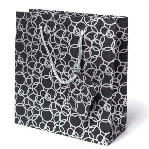 Set of Twelve Recycled Cotton Gift Bags with Tag in Black Circles Design - Arcadia Home