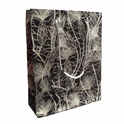 Set of Twelve Recycled Cotton Gift Bags with Tag in Black Beach Grass Design - Arcadia Home